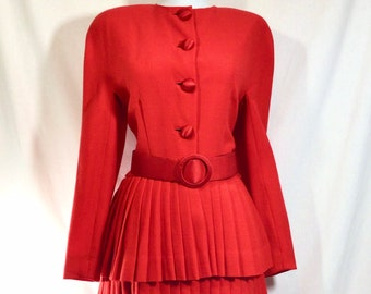 1960s UNION MADE Pleated Button-Up Secretary Dress with Matching Belt size S/M