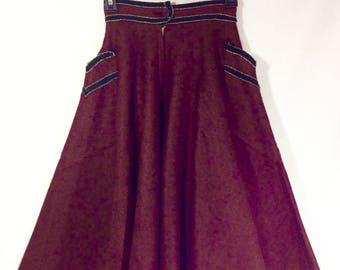 1960s Burgundy Wool Felt Schoolgirl Circle Skirt with Braided Trim and Pockets size XS/S