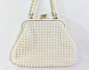 1950s White Beaded Clamshell Handbag with Gold Tone Hardware