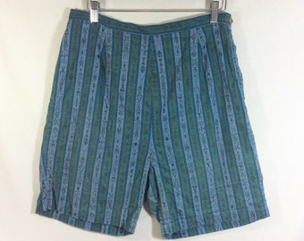 1960s Surf Shorts with Teal Tiki Mid Century Striped Print Shorts- waist size 28