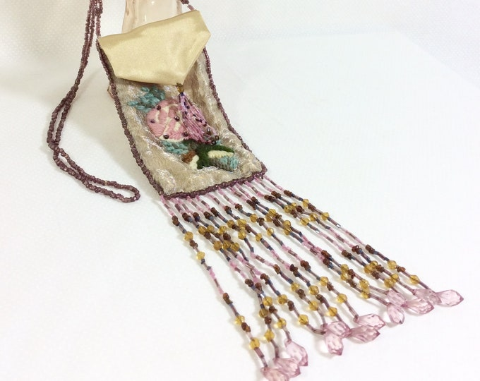 Featured listing image: RARE 1920s Embroidered Silk Sautoir Purse Flapper Necklace with Crystal Beaded Fringe