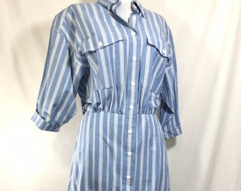 1980s Cotton Striped Button Up Dress with Pockets size S