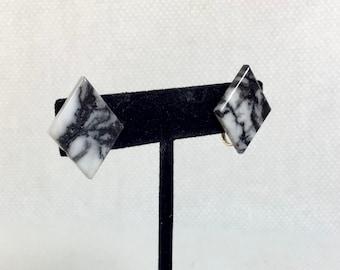 1980s Marble-Look Acrylic Rhombus Screwback Earrings