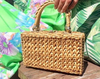 1960s Woven Rectangular Basket Purse with Turnkey Clasp and Braided Handle