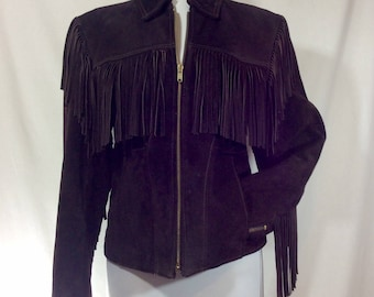 Womens 1970s Brown Suede American-Made Fringed Jacket size 8/10