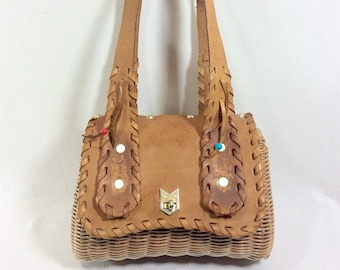 1960s Leather Fringed Basket Purse with Shoulder Straps and Turnkey Clasp