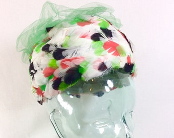 1950s UNION MADE Feather Pillbox Fascinator Hat