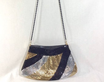 1980s Metallic Mesh Striped Zip Party Purse with Long Strap