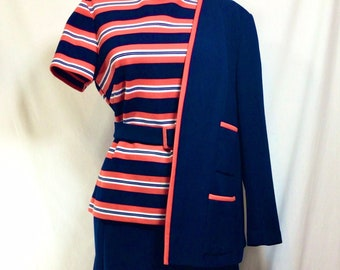 1960s 4pc Peggy Skirt Suit with Top, Blazer, Skirt and Belt size M
