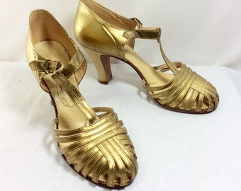 "1930s Metallic Gold Leather T-Strap Pumps with 3"" Heel size 6.5"