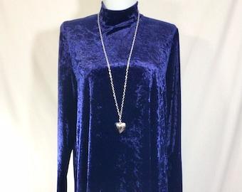 1990s Royal Blue Crushed Velvet Long Sleeved GoGo Dress size M/L/XL