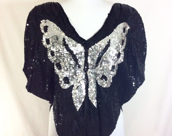 1970s Sequin Butterfly Black and Silver Silk Disco Blouse size S/M