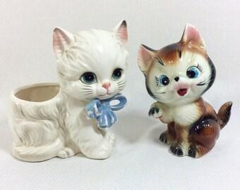 2 Mid-Century Adorable Ceramic Kitty Figurines