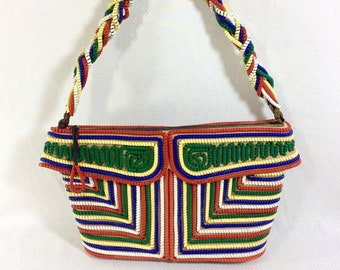 1930s Phone Cord Handbag with Colorful Art Deco Design and Braided Strap