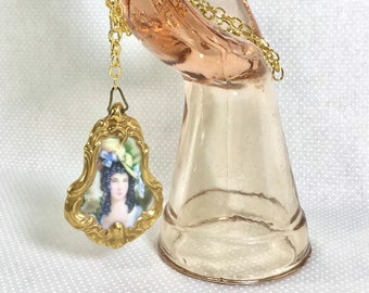 Antique Double-Sided Victorian Hand Painted Porcelain Pendant Necklace on Long Gold Chain