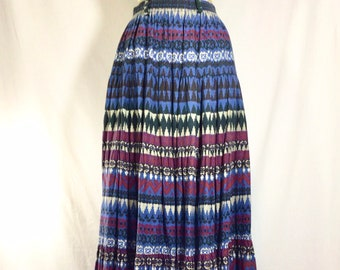 1970s Southwestern Cotton Tiered Maxi Skirt size S