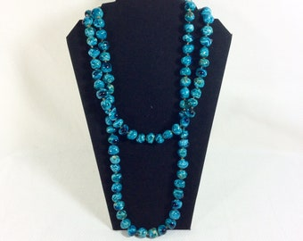 1960s Long Turquoise Ceramic Beaded Necklace with Gold Tube Beads