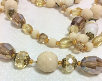1950s Long Crystal Honey Champagne Glass Bead Necklace