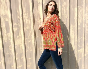 1960s Silk Paisley Boho Tunic with Red Sparkles and Side Hip Slits size M/L