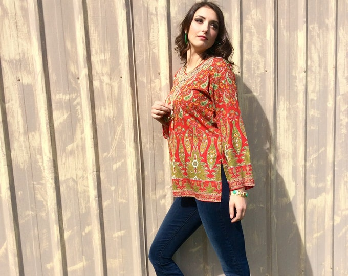 Featured listing image: 1960s Silk Paisley Boho Tunic with Red Sparkles and Side Hip Slits size M/L
