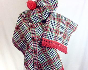 1960s Plaid 5-Piece Costume with Long Scarf and PomPom Hat- one size fits most.