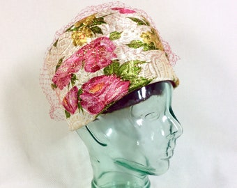 1960s Metallic Floral UNION MADE Cloche Hat with Fuschia Veil