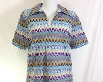 1970s Chevron Collared Short Sleeve Knit Shirt size M/L