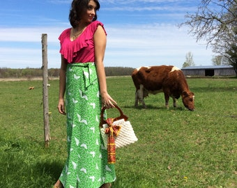 1960s Long Wrap Skirt with Green and White Butterfly Print size M