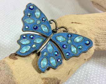1970s Blue Aurora Borealis Butterfly Brooch by Nina Ricci for Avon