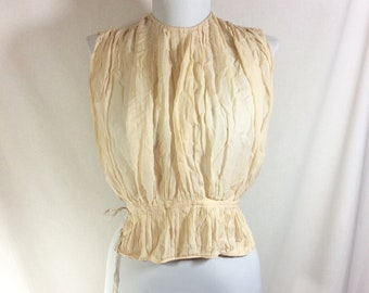 1900s Champagne Silk Crepe Pleated Corset Cover Camisole with Drawstring Waist size XS/S