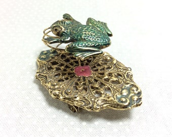 1950s Frog Coil Spring Brooch on Filigree Lilly Pad with Pink Flower