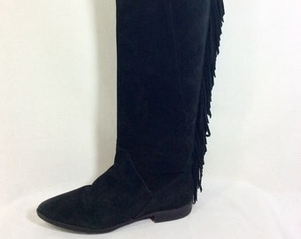 Vintage Over the Knee Black Suede Fringed Boots size 8.5