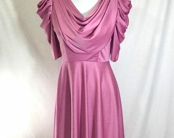 1970s Blush Rose UNION MADE Bias-Draped Disco Dress with Cowl Neckline Size S