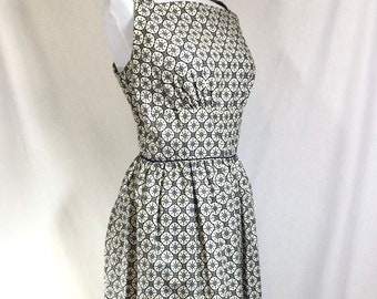1960s New Old Stock Atomic Print Cotton Sleevless Day Dress size M/L