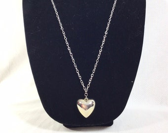 1980s Silver Heart Double Sided Pendant on Long Chain