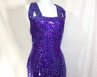 1990s Strappy Sequin Purple Party Dress with Cut Outs size S/M