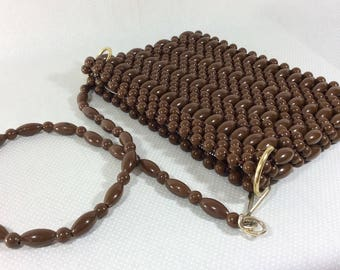 1970s Funky Chocolate Brown Beaded Purse with Long Beaded Adjustable Shoulder Strap and Gold Hardware