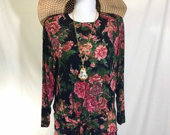 1990s Drop Waist Floral Rayon Long Sleeved Boho Dress with Tie Sash size S