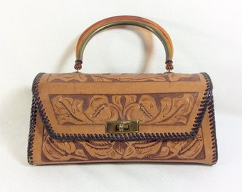 1960s Tooled Leather Handbag with Tortoise Lucite Handle