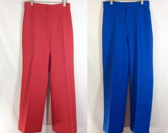 2 Pairs of 1970s UNION MADE Polyester High Waisted Trousers in Red and Blue size 4/6