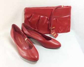 1970s Cherry Red Leather Clutch and Matching Pumps size 6.5