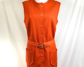 1960s Orange Mod Thelma Cord Sleeveless Belted Button Front Dress with Pockets size M/L