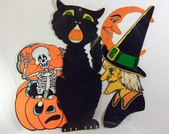 1940s-50s RARE Beistle Die Cast Paper Halloween Wall Hanging Decorations Lot of 3