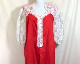 1970s Red and White Lace Western Button Up Square Dance Blouse size XL