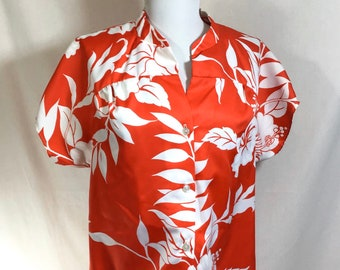 1980s Red Hawaiian Hibiscus Print Button-Up Smock Blouse size L