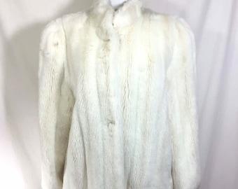 1970s White Faux Fox Fur Coat with Pockets size M/L