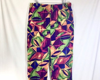 1980s Rayon Abstract Print Harem Pants with Pockets and Elastic Waist size L