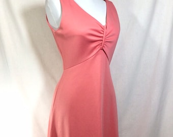 1960s Coral Sleeveless Maxi Dress with Gathered V-Neckline size S
