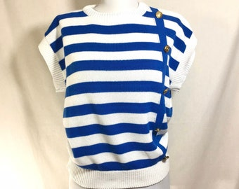 1980s Nautical Striped Crop Sweater with Gold Anchor Buttons size M/L