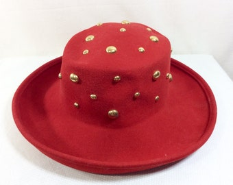 1980/90s Red Wool Felt Wide Brim Hat with Gold Studs